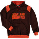 Cleveland Browns Majestic Big & Tall 1/4-Zip Pullover Hoodie - Brown