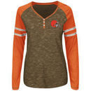 Cleveland Browns Majestic Women's Lead Play Long Sleeve Henley T-Shirt - Brown