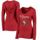 San Francisco 49ers Women's Glory Tri-Blend V-Neck Hooded T-Shirt - Scarlet
