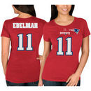 Julian Edelman New England Patriots Majestic Women's Fair Catch V Name & Number T-Shirt - Red