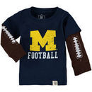Michigan Wolverines Wes & Willy Infant Football Fooler Long Sleeve T-Shirt - Navy