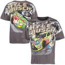 Kyle Busch Checkered Flag M&M's Total Print T-Shirt - Charcoal