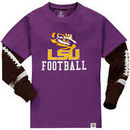 LSU Tigers Wes & Willy Youth Football Fooler Long Sleeve T-Shirt - Purple