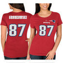 Rob Gronkowski New England Patriots Majestic Women's Fair Catch V Name & Number T-Shirt - Red