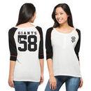 San Francisco Giants '47 Brand Women's Glitz 3/4 Sleeve Henley T-Shirt - White