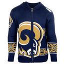 Classic St. Louis Rams Klew Big Logo Full-Zip Hoodie - Navy