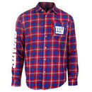 New York Giants Wordmark Flannel Long Sleeve Button-Up - Royal/
