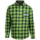 Seattle Seahawks Wordmark Flannel Long Sleeve Button-Up - Navy/