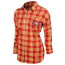 San Francisco 49ers Klew Women's Wordmark Flannel Long Sleeve Shirt - Scarlet