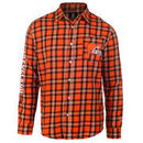 Cleveland Browns Wordmark Flannel Long Sleeve Button-Up - Brown/