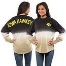 Iowa Hawkeyes Women's Ombre Long Sleeve Dip-Dyed Spirit Jersey - Black