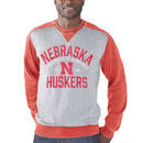 Nebraska Cornhuskers G-III Sports by Carl Banks Zone Blitz Raglan Burnout Crewneck Sweatshirt - Heather Gray