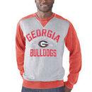 Georgia Bulldogs G-III Sports by Carl Banks Zone Blitz Raglan Burnout Crewneck Sweatshirt - Heather Gray
