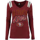 San Francisco 49ers 5th & Ocean by New Era Women's Tri-Blend V-Neck Long Sleeve T-Shirt - Scarlet