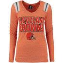 Cleveland Browns 5th & Ocean by New Era Women's Tri-Blend V-Neck Long Sleeve T-Shirt - Orange