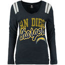 San Diego Chargers 5th & Ocean by New Era Women's Tri-Blend V-Neck Long Sleeve T-Shirt - Navy