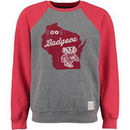 Wisconsin Badgers Original Retro Brand Vintage Color Block Tri-Blend Sweatshirt - Heather Gray