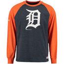 Detroit Tigers Stitches Long Sleeve Heather Raglan Top - Navy