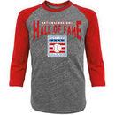 Baseball Hall of Fame Majestic Threads Walk Off 3/4 Sleeve Raglan T-Shirt - Gray/Red