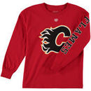 Calgary Flames Old Time Hockey Youth Two Hit Long Sleeve T-Shirt - Red