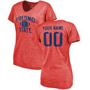 Fresno State Bulldogs Women's Personalized Distressed Football Tri-Blend V-Neck T-Shirt - Red