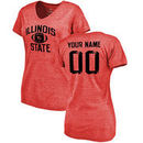 Illinois State Redbirds Women's Personalized Distressed Football Tri-Blend V-Neck T-Shirt - Red