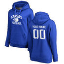 Kansas Jayhawks Women's Personalized Distressed Football Pullover Hoodie - Royal