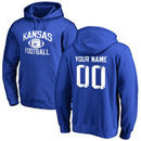 Kansas Jayhawks Personalized Distressed Football Pullover Hoodie - Royal Blue