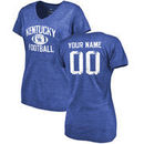 Kentucky Wildcats Women's Personalized Distressed Football Tri-Blend V-Neck T-Shirt - Royal