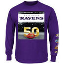 Baltimore Ravens Majestic On The Fifty Drive The Line Long Sleeve T-Shirt - Purple