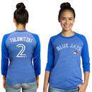 Troy Tulowitzki Toronto Blue Jays Majestic Threads Women's 3/4 Sleeve Name & Number Raglan T-Shirt - Royal