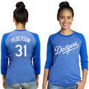 Joc Pederson Los Angeles Dodgers Majestic Threads Women's 3/4 Sleeve Name & Number Raglan T-Shirt - Royal