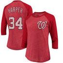 Bryce Harper Washington Nationals Majestic Threads Women's 3/4 Sleeve Name & Number Raglan T-Shirt - Red