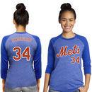 Noah Syndergaard New York Mets Majestic Threads Women's 3/4 Sleeve Name & Number Raglan T-Shirt - Royal