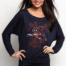 Auburn Tigers Original Retro Brand Women's Relaxed Boatneck Dolman Long Sleeve T-Shirt - Navy