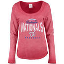 Washington Nationals 5th & Ocean by New Era Women's V-Neck Long Sleeve T-Shirt - Red