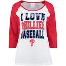 Philadelphia Phillies 5th & Ocean by New Era Women's I Love Baseball Wide Scoop Neck Long Sleeve Raglan T-Shirt - White