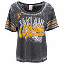 Oakland Athletics 5th & Ocean by New Era Women's Burnout Wash Hi-Low T-Shirt - Black