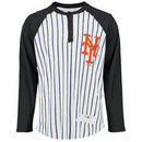 New York Mets Striped Henley Long Sleeve Raglan T-Shirt - White/Navy