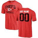 Men's Red Kansas City Chiefs Distressed Custom Name & Number Tri-Blend T-Shirt