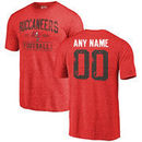 Men's Red Tampa Bay Buccaneers Distressed Custom Name & Number Tri-Blend T-Shirt