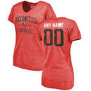 Women's Red Tampa Bay Buccaneers Distressed Custom Name & Number Tri-Blend V-Neck T-Shirt