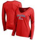 Samford Bulldogs Women's Proud Mascot Long Sleeve T-Shirt - Red