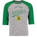Oakland Athletics Majestic Don't Judge Cooperstown Three-Quarter Sleeve Raglan T-Shirt - Gray/Green