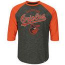 Baltimore Orioles Majestic Don't Judge Cooperstown Three-Quarter Sleeve Raglan T-Shirt - Charcoal/Orange