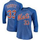 Matt Harvey New York Mets Majestic Threads Women's 3/4-Sleeve Raglan Name & Number T-Shirt - Royal