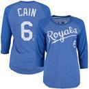 Lorenzo Cain Kansas City Royals Majestic Threads Women's Three-Quarter Sleeve Name & Number Raglan T-Shirt - Royal