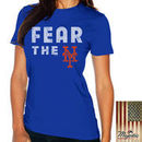 New York Mets Majestic Threads Women's Fear The Team T-Shirt - Royal