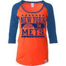 New York Mets 5th & Ocean by New Era Women's Athletic Baby Jersey T-Shirt - Orange/Royal