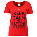 Los Angeles Angels 5th & Ocean by New Era Women's Keep Calm Rivalry V-Neck T-Shirt - Red